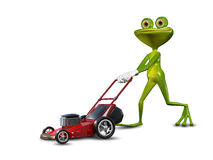 Frosch mit einem Rasenmäher Stockbild