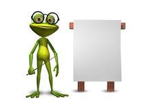 Frosch mit einem Zeiger Stockfotografie