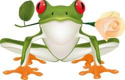 Frosch mit einer Rose Lizenzfreie Stockfotografie