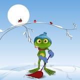 Frosch mit einer Schaufel Lizenzfreie Stockfotografie