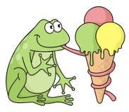 Frosch mit Eiscreme Lizenzfreies Stockfoto