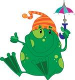 Frosch mit Regenschirm Stockbilder