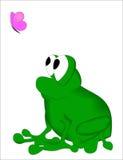 Frosch mit Schmetterling Lizenzfreie Stockfotografie