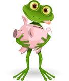 Frosch mit Sparschwein Lizenzfreie Stockbilder