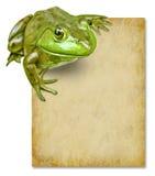 Frosch mit unbelegtes grunge altem Papierzeichen Stockbild