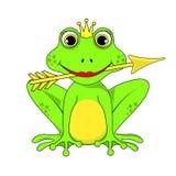 Frosch-Prinzessinkrone mit Pfeil auf weißem Hintergrund im Vektor ENV 10 Lizenzfreie Stockfotos