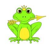 Frosch-Prinzessinkrone mit Pfeil auf weißem Hintergrund im Vektor ENV 10 Stockbilder