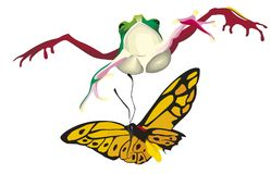Frosch springt auf Schmetterling Stockfotografie