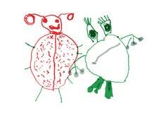 Frosch-u. Marienkäfer-Kinderzeichnung Stockfotografie