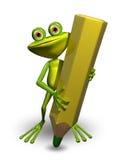 Frosch und Bleistift Stockbild