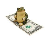 Frosch und Geld auf einem weißen Hintergrund (getrennt). Lizenzfreies Stockbild