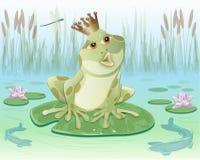 Froschkönig, der auf Wasserlilienblatt sitzt Stockfotos