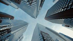 Froschperspektive von Boden zu Himmel von Stadtwolkenkratzern stock video
