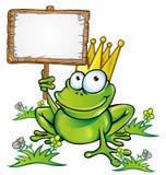 Frosch mit Schild Stockfoto