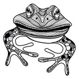 Froschtierhauptsymbol für Maskottchen- oder Emblemdesignvektorillustration für T-Shirt Lizenzfreie Stockfotografie