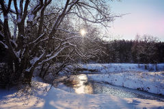Frosen. Country winter sunset light color everning frosen iсe trees river snow blu water forest wood rays Stock Images