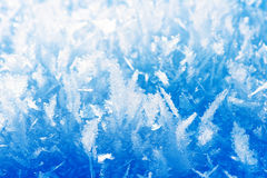 Frost background, closeup. Blue frost background, closeup of ice crystals Stock Photo