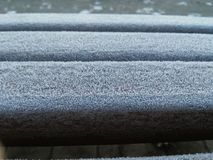 The frost on the bench. Royalty Free Stock Photography
