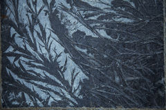 Frost on blue flagstones Royalty Free Stock Photo