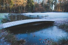 Frost on  bridge in early morning Stock Photography