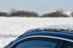 Frost car roof. Roof of a car in the frost Royalty Free Stock Photo