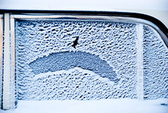 Frost on the car window Royalty Free Stock Photo