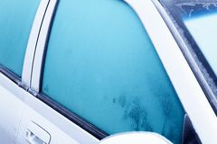Frost on car in winter cold.  stock image