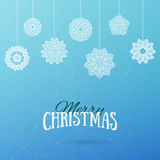 Frost Christmas background with hanging mandala snowflakes.. Merry Christmas and Happy New Year holiday background. Vector illustration Stock Photo