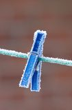 Frost on clothespin Royalty Free Stock Photo