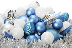 Frost-Colored Christmas Bulbs Royalty Free Stock Images