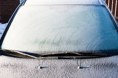 Frost on a completely covered car windscreen Royalty Free Stock Photo