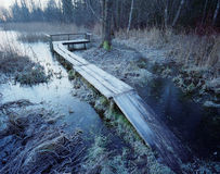 Frost covered footbridge Royalty Free Stock Photography