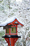 Frost covered lantern, winter in Kyoto Japan Stock Photography