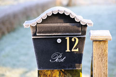 Frost Covered Ornamental Post Box Stock Photography