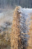 Frost covered straw bale Royalty Free Stock Photography