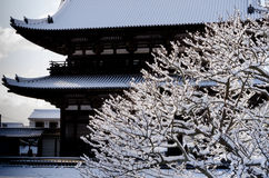 Frost covered temple, winter in Kyoto Japan Royalty Free Stock Photos