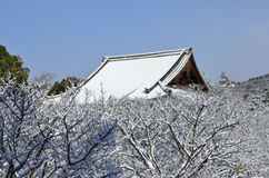 Frost covered temple, winter in Kyoto Japan Stock Images