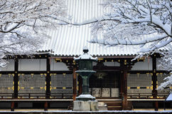 Frost covered temple, winter in Kyoto Japan. Seasonal picture of frost covered Buddhism temple Ninnaji in Kyoto Japan winter Stock Photos
