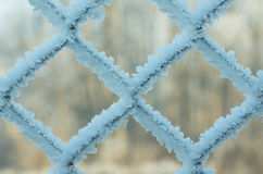 Frost covered on wired fence. Full of crystals Stock Photo