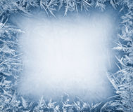 Frost crystal border on ice stock photo