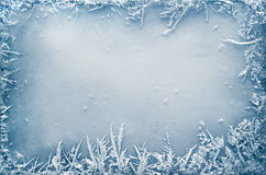 Frost Crystal Border no gelo imagem de stock