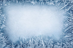 Frost crystal border stock photography