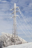 Frost crystals on Power Lines Royalty Free Stock Image