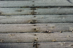 Frost crystals on wooden siding Royalty Free Stock Image