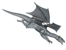 Frost dragon. 3D rendered flying frost dragon isolated on white background Stock Image