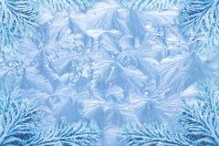 Frost-Eiskristallmuster u. schneebedeckte Fichte Stockbild