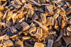 Frost em woodchips Imagens de Stock