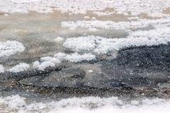 Frost en superficie congelada del lago en invierno Fotografía de archivo