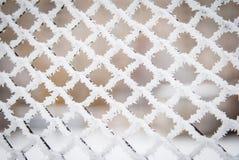 Frost et neige sur une barrière Photo libre de droits