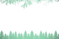 Frost and fir trees in green. On white background Stock Images